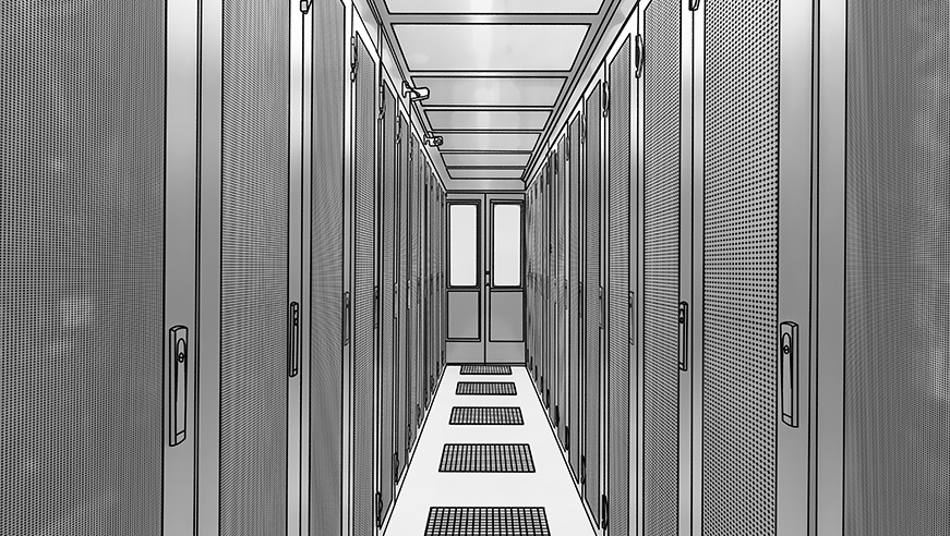 racks corridor pencil drawing