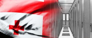 georgian flag on racks corridor background