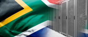south african flag on racks drawing background
